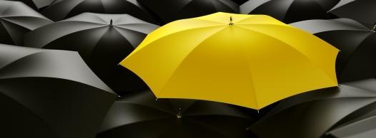 Immagine ombrelli neri ideal giallo